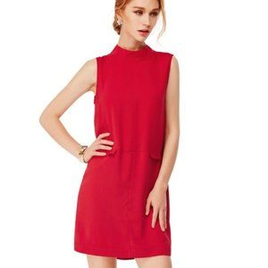 Sleeveless Red Shift Dress with Mock Neck - M
